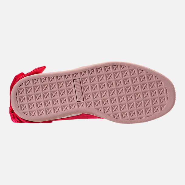 Bottom view of Girls' Preschool Puma Basket Bow Hook-and-Loop Casual Shoes in Paradise Pink/Paradise Pink