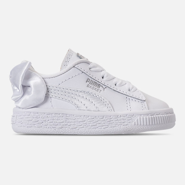 Right view of Girls' Toddler Puma Basket Bow Casual Shoes in White
