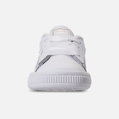Front view of Girls' Toddler Puma Basket Bow Casual Shoes in White