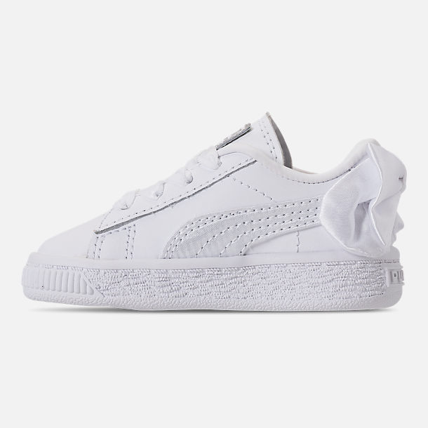 Left view of Girls' Toddler Puma Basket Bow Casual Shoes in White