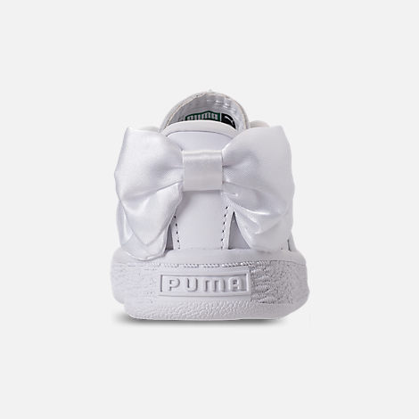 Back view of Girls' Toddler Puma Basket Bow Casual Shoes in White