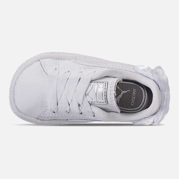 Top view of Girls' Toddler Puma Basket Bow Casual Shoes in White