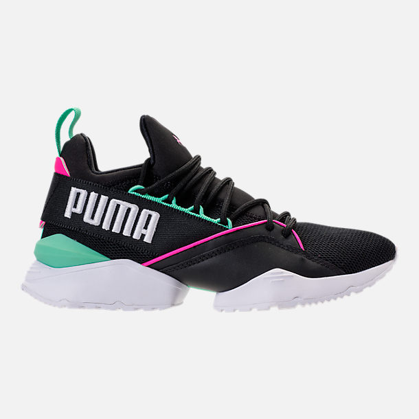 Right view of Women's Puma Muse Maia Varsity Casual Shoes in Black/Knockout Pink/Biscay Green