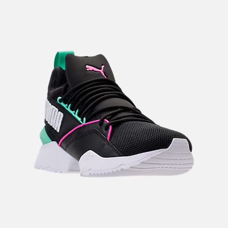 Three Quarter view of Women's Puma Muse Maia Varsity Casual Shoes in Black/Knockout Pink/Biscay Green