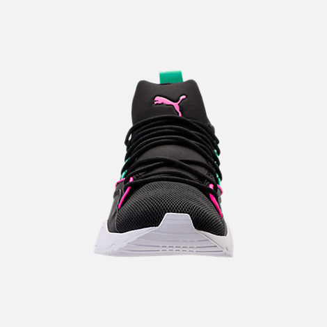 Front view of Women's Puma Muse Maia Varsity Casual Shoes in Black/Knockout Pink/Biscay Green