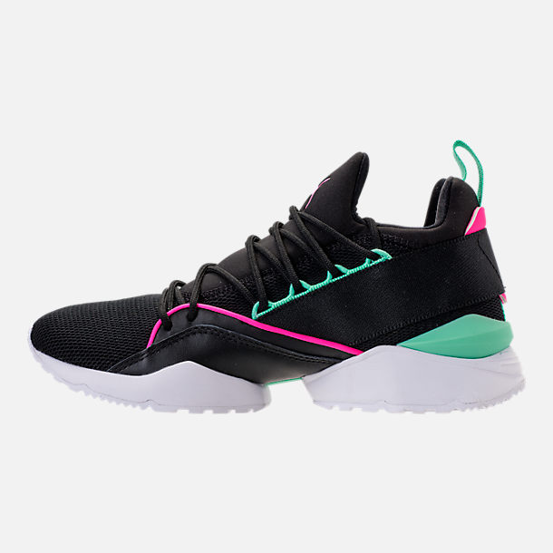 Left view of Women's Puma Muse Maia Varsity Casual Shoes in Black/Knockout Pink/Biscay Green