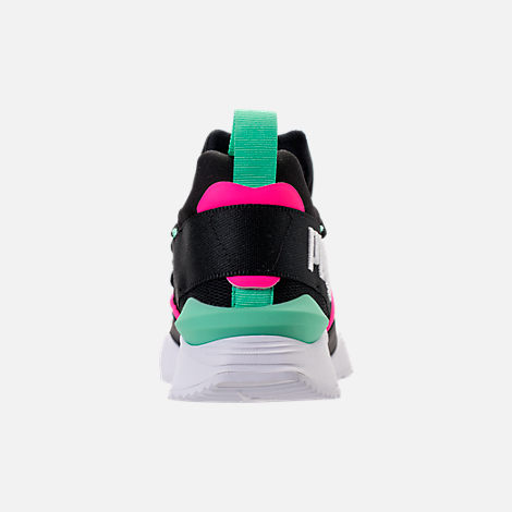Back view of Women's Puma Muse Maia Varsity Casual Shoes in Black/Knockout Pink/Biscay Green