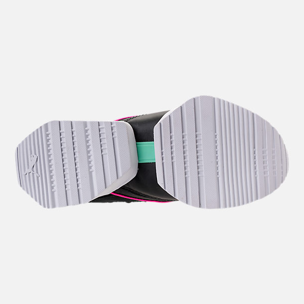 Bottom view of Women's Puma Muse Maia Varsity Casual Shoes in Black/Knockout Pink/Biscay Green