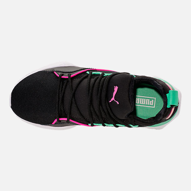 Top view of Women's Puma Muse Maia Varsity Casual Shoes in Black/Knockout Pink/Biscay Green