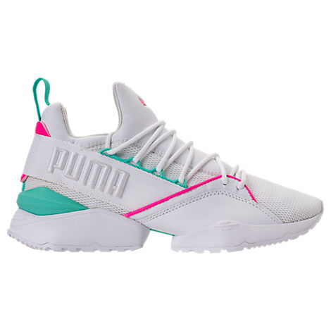 Women'S Muse Maia Varsity Casual Shoes, Pink, Puma White-Knockout Pink-Green