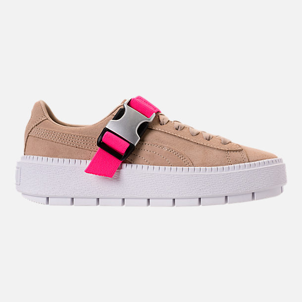 Right view of Women's Puma Suede Platform Trace Buckle Casual Shoes in Cement