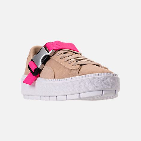 Three Quarter view of Women's Puma Suede Platform Trace Buckle Casual Shoes in Cement