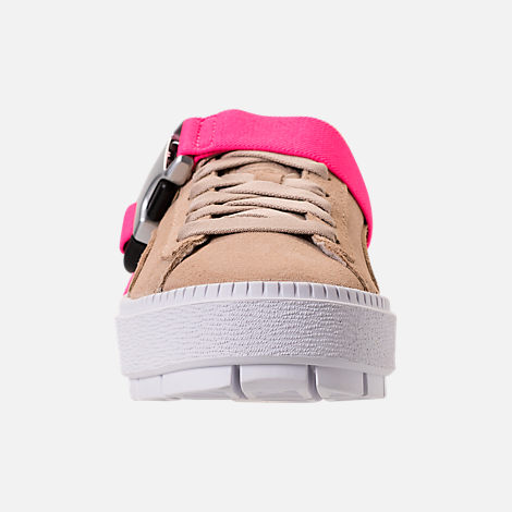 Front view of Women's Puma Suede Platform Trace Buckle Casual Shoes in Cement