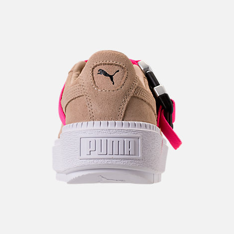 Back view of Women's Puma Suede Platform Trace Buckle Casual Shoes in Cement