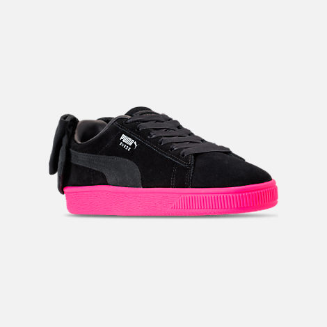 Three Quarter view of Women's Puma Suede Bow Block Casual Shoes in Black/Pink