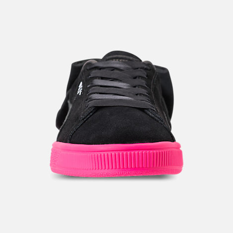 Front view of Women's Puma Suede Bow Block Casual Shoes in Black/Pink