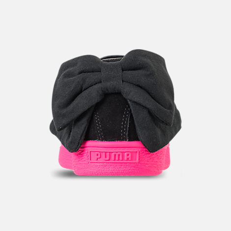 Back view of Women's Puma Suede Bow Block Casual Shoes in Black/Pink
