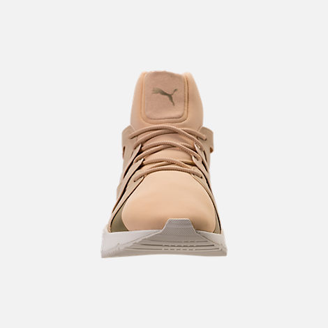 Front view of Women's Puma Muse Echo NSL Casual Shoes in Pebble/Metallic Gold