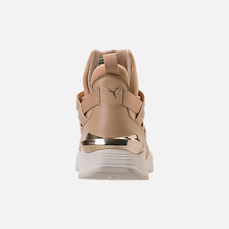 Back view of Women's Puma Muse Echo NSL Casual Shoes in Pebble/Metallic Gold