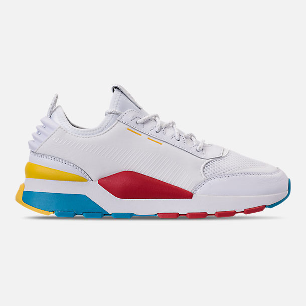 Right view of Men's Puma RS-0 Play Casual Shoes in White/High Risk Red/Yellow