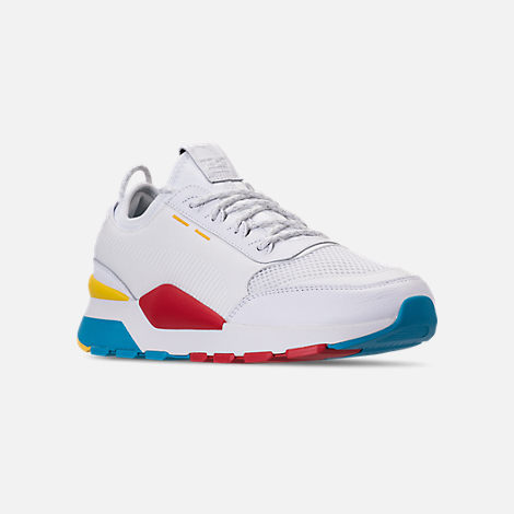 Three Quarter view of Men's Puma RS-0 Play Casual Shoes in White/High Risk Red/Yellow