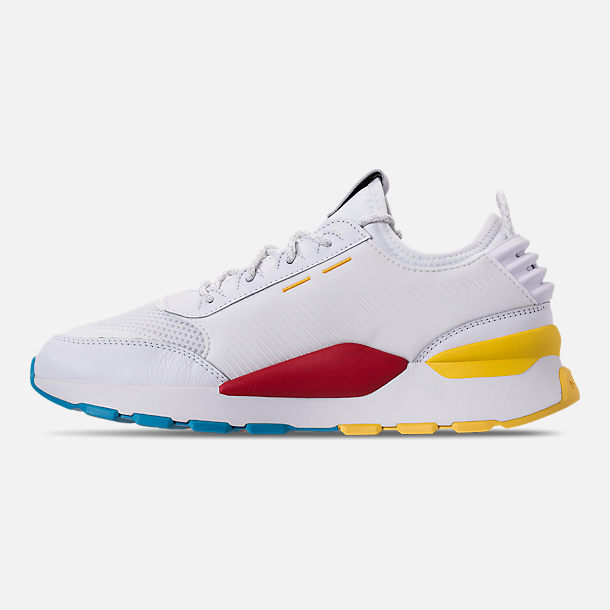 Left view of Men's Puma RS-0 Play Casual Shoes in White/High Risk Red/Yellow