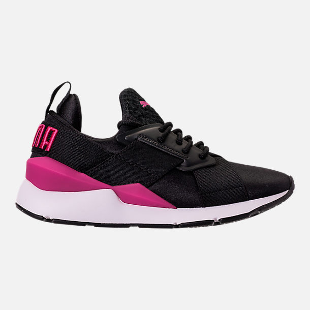 Right view of Girls' Big Kids' Puma Muse Jr. Casual Shoes in Black/Knockout Pink