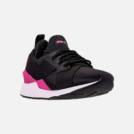 Three Quarter view of Girls' Big Kids' Puma Muse Jr. Casual Shoes in Black/Knockout Pink