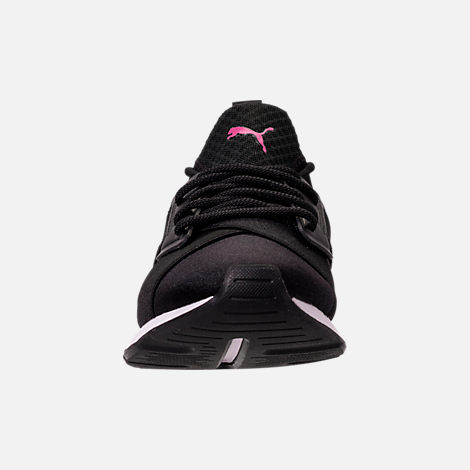 Front view of Girls' Big Kids' Puma Muse Jr. Casual Shoes in Black/Knockout Pink