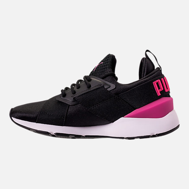 Left view of Girls' Big Kids' Puma Muse Jr. Casual Shoes in Black/Knockout Pink