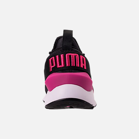Back view of Girls' Big Kids' Puma Muse Jr. Casual Shoes in Black/Knockout Pink