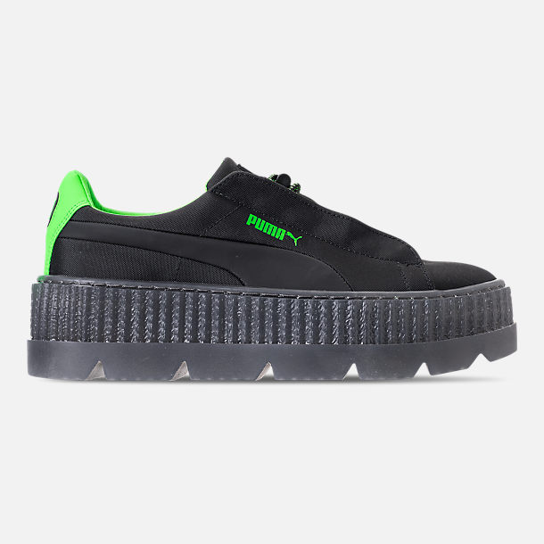 Right view of Women's Puma Fenty x Rihanna Cleated Creeper Casual Shoes in Puma Black/Green Gecko