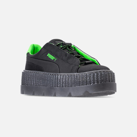 Three Quarter view of Women's Puma Fenty x Rihanna Cleated Creeper Casual Shoes in Puma Black/Green Gecko