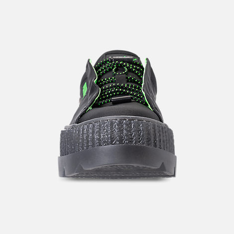 Front view of Women's Puma Fenty x Rihanna Cleated Creeper Casual Shoes in Puma Black/Green Gecko