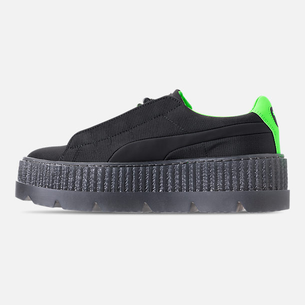 Left view of Women's Puma Fenty x Rihanna Cleated Creeper Casual Shoes in Puma Black/Green Gecko