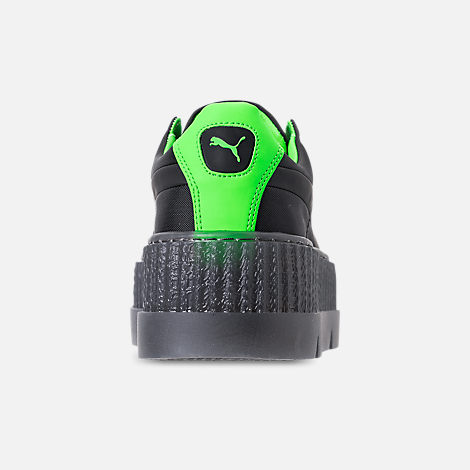 Back view of Women's Puma Fenty x Rihanna Cleated Creeper Casual Shoes in Puma Black/Green Gecko