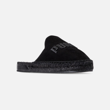 Three Quarter view of Women's Puma Fenty x Rihanna Espadrille Casual Shoes in Puma Black/Puma Black/Puma Black