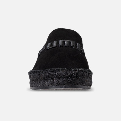 Front view of Women's Puma Fenty x Rihanna Espadrille Casual Shoes in Puma Black/Puma Black/Puma Black