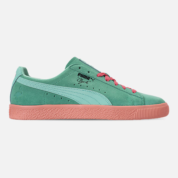 Right view of Men's Puma Clyde South Beach Casual Shoes in Blue/Pink