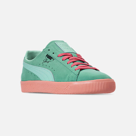 Three Quarter view of Men's Puma Clyde South Beach Casual Shoes in Blue/Pink