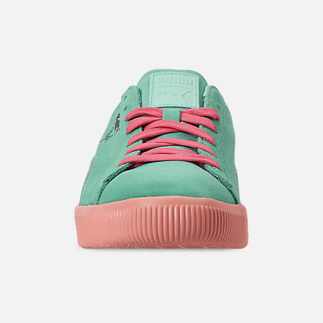 Front view of Men's Puma Clyde South Beach Casual Shoes in Blue/Pink