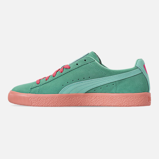 Left view of Men's Puma Clyde South Beach Casual Shoes in Blue/Pink