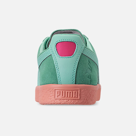Back view of Men's Puma Clyde South Beach Casual Shoes in Blue/Pink