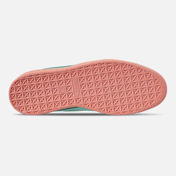 Bottom view of Men's Puma Clyde South Beach Casual Shoes in Blue/Pink