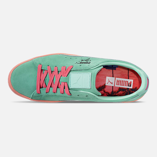 Top view of Men's Puma Clyde South Beach Casual Shoes in Blue/Pink