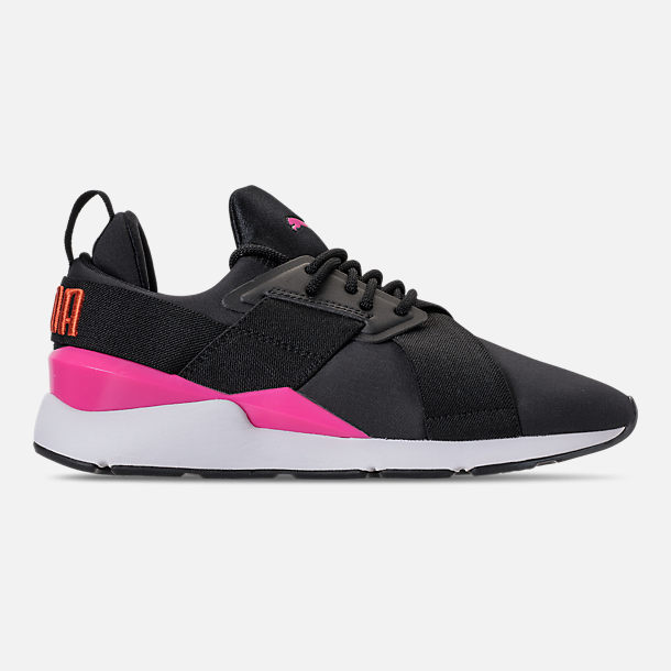 Right view of Women's Puma Muse Chase Casual Shoes in Puma Black/Knockout Pink
