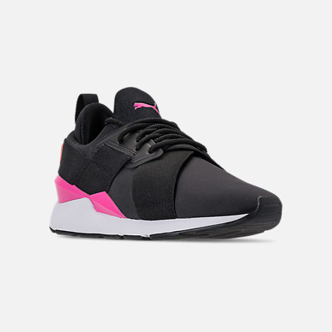Three Quarter view of Women's Puma Muse Chase Casual Shoes in Puma Black/Knockout Pink