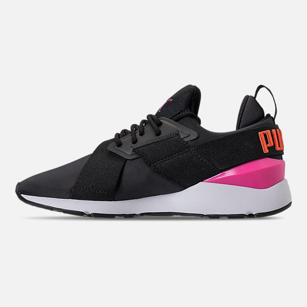 Left view of Women's Puma Muse Chase Casual Shoes in Puma Black/Knockout Pink
