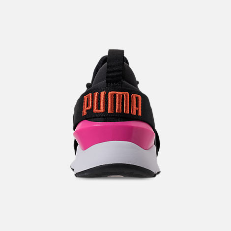 Back view of Women's Puma Muse Chase Casual Shoes in Puma Black/Knockout Pink