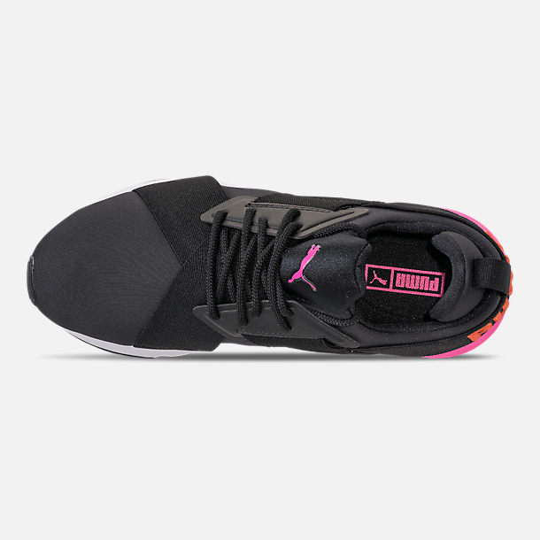 Top view of Women's Puma Muse Chase Casual Shoes in Puma Black/Knockout Pink
